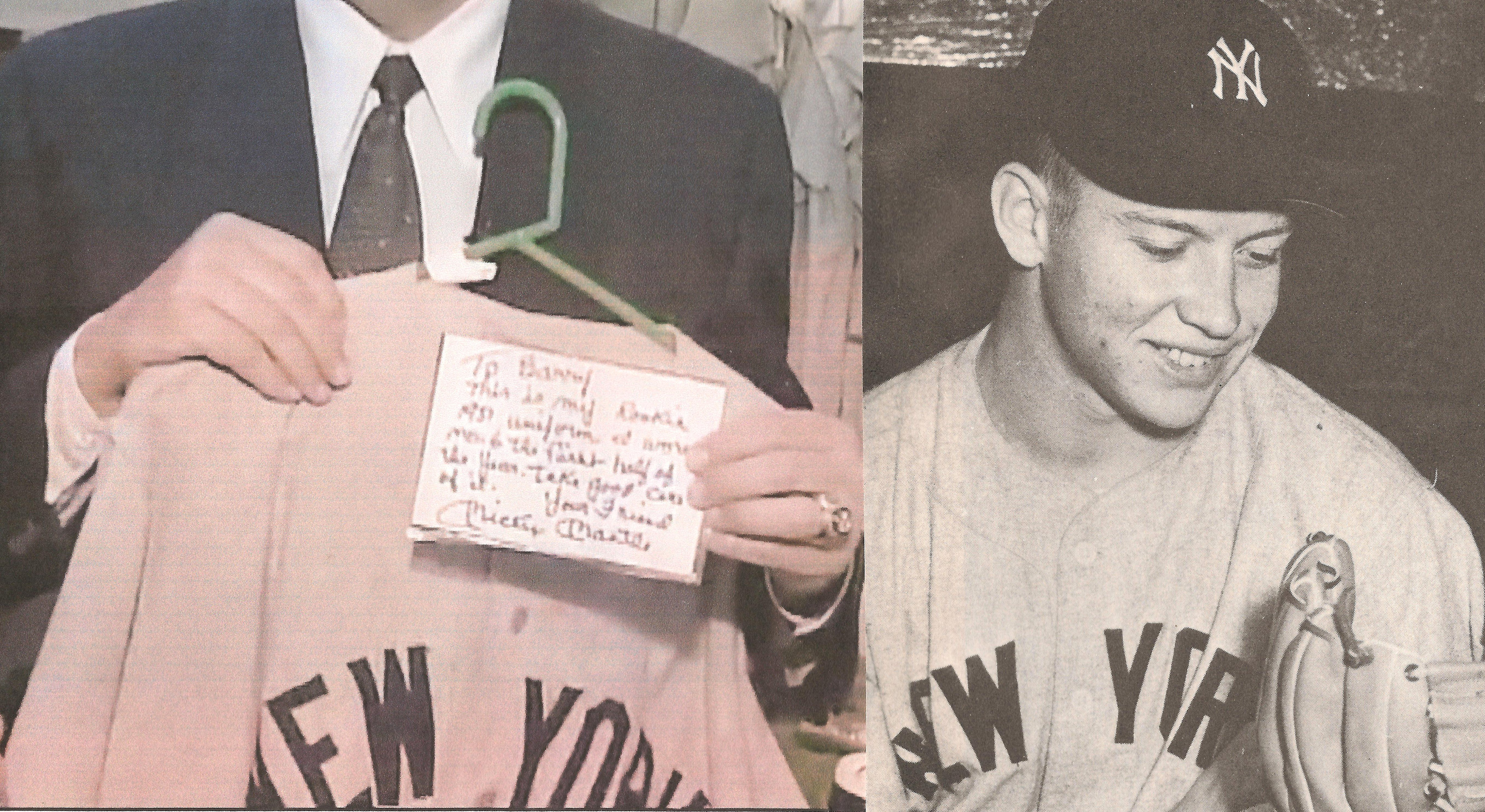 Halper (left) holds the index card written by Mickey Mantle to authenticate  the suspect 1951 road jersey. 16b176e96cf