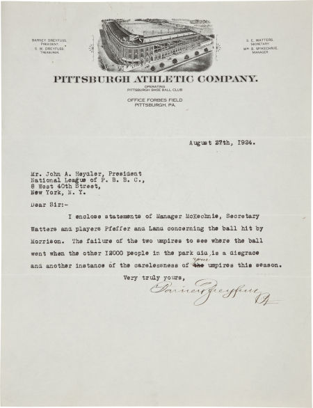 This protest letter written by hall of famer Barney Dreyfus was likely stolen from the National Baseball Library in Cooperstown.