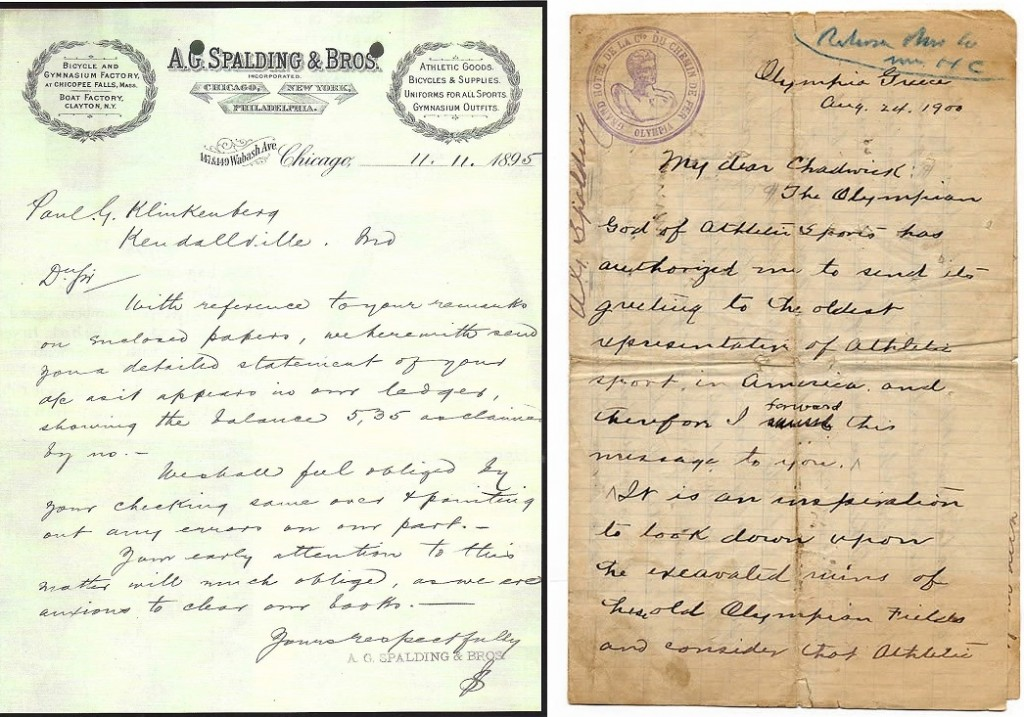When the letter written by a Spalding employee in 1895 (left) is compared side by side with the authentic Spalding letter from 1900, the differences in the handwriting are evident.