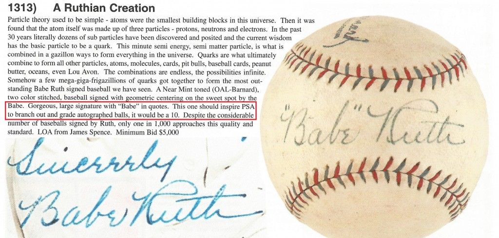 This single signed ball sold by Bill Mastro in 1998 appears to have been created by the same forger who crafted the Ruth photo inscribed to Gary Cooper.