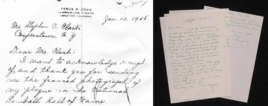 Ty Cobb wrote a letter to Stephen Clark in 1948 (left) and scores more to Hall President Paul Kerr (right).  It is believed that all og these letters were stolen from the museum's internal files.