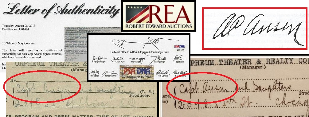 The bogus Anson signatures appearing in our 2013 report and the current REA sale were authenticated by PSA despite having no similarity to an authentic Anson signature. The slant is even in the opposite direction on the two documents signed at different times. PPSA even authenticated the REA lot after the HOS report was published in 2013.